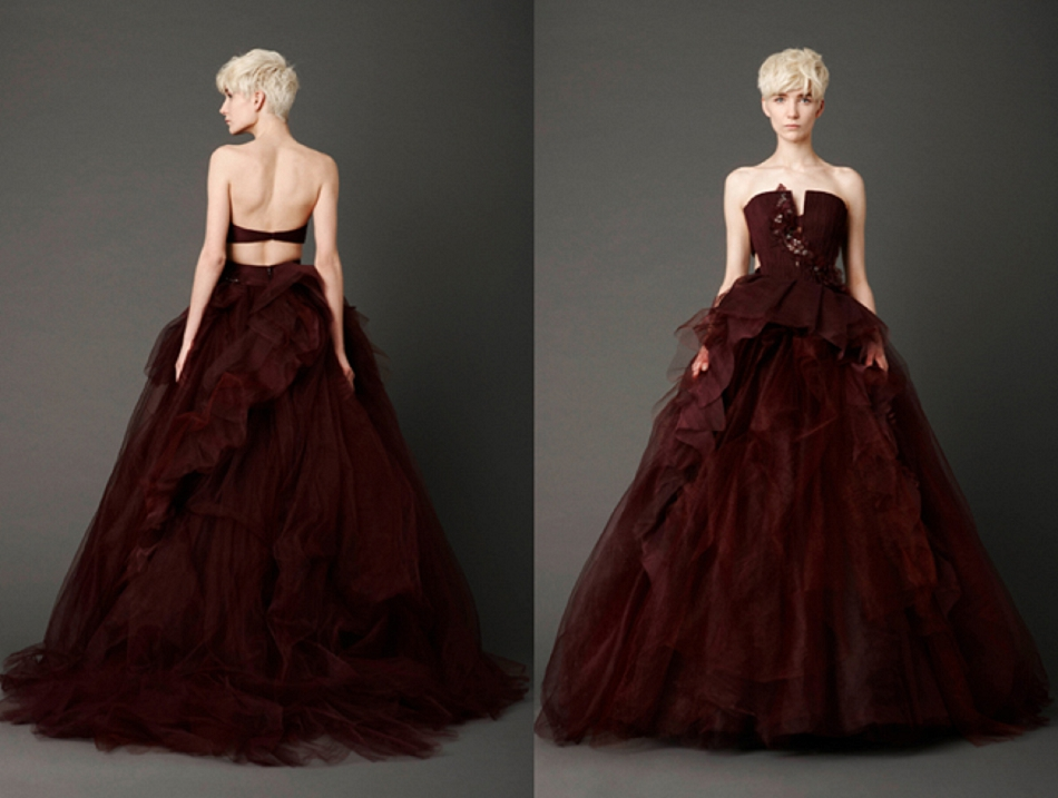 2013 bridal trends red wedding dresses we fell in love for Maroon dresses for wedding