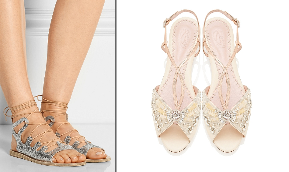 From ballet flats to bridal trainers flat wedding shoes for metallic sandals for wedding junglespirit Image collections
